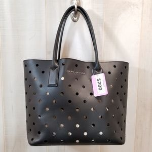 Marc Jacobs Black Perforated Leather Tote Bag